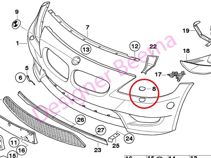 bmw z4 e85 e86 front bumper headlight washer jet cover left  js